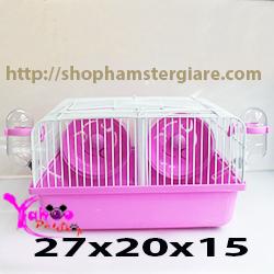 Lồng sắt hamster 2 ngăn nhỏ hồng