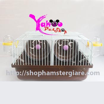 Lồng 2 ngăn nhỏ socola nuôi hamster