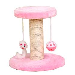 Trụ mèo cào màu hồng có chuông